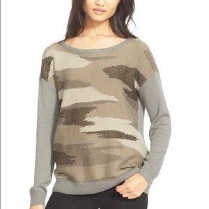 Joie Camo Boatneck Drop Shoulder Sweater